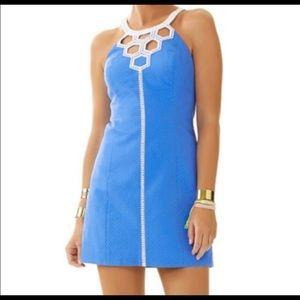 Lilly Pulitzer Molly Bay Blue Cutout Shift Dress